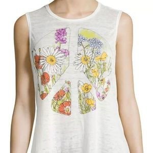 Chaser Floral Peace Sign Graphic Tank Top